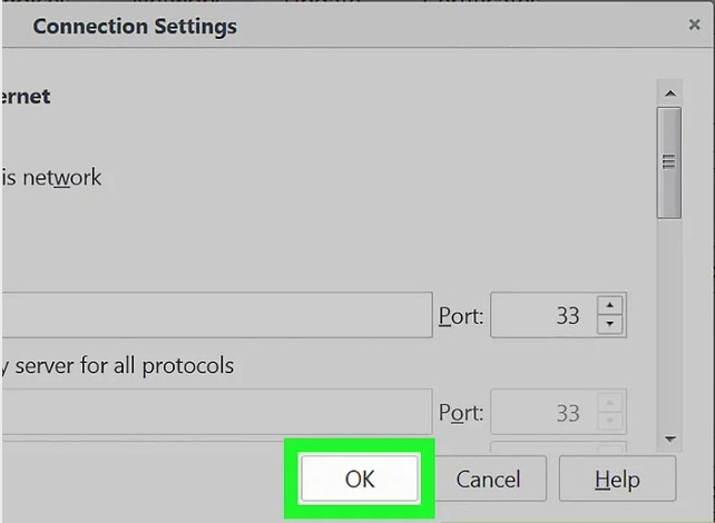 proxy settings in Firefox